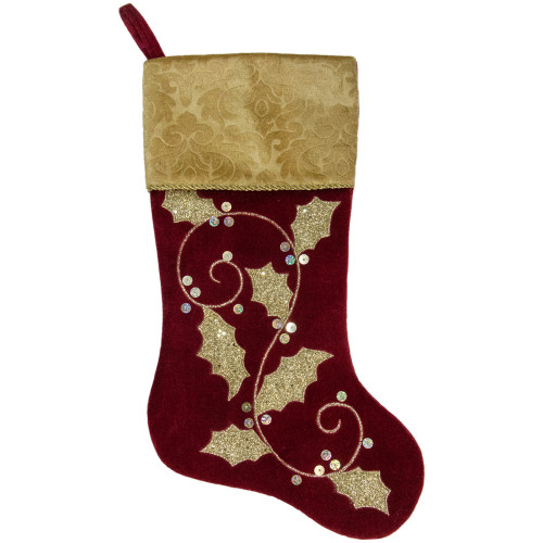 20.5-Inch Velvet Gold and Maroon Etched Cuff Christmas Stocking - IMAGE 1