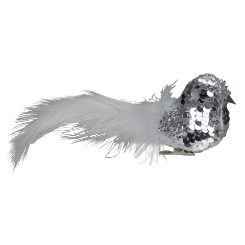"""6"""" Silver Sequin Bird With White Feathers Clip On Christmas Ornament - IMAGE 1"""