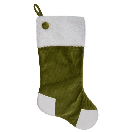 20.5-Inch Green and White Corduroy Christmas Stocking - IMAGE 1