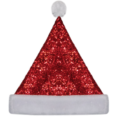 15-Inch Red and White Sequin Christmas Santa Claus Hat-Adult Size M - IMAGE 1