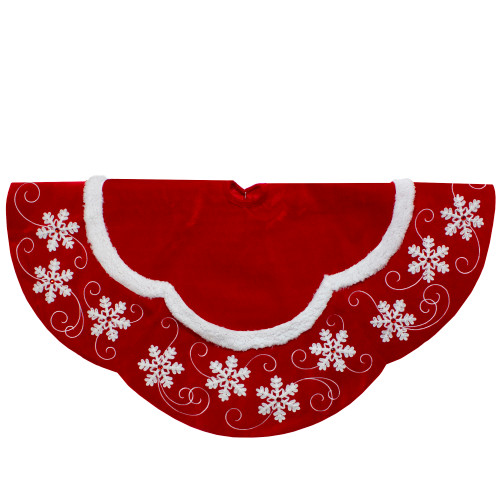 48-Inch Velvet Red and White Snowflake Scallop Christmas Tree Skirt - IMAGE 1
