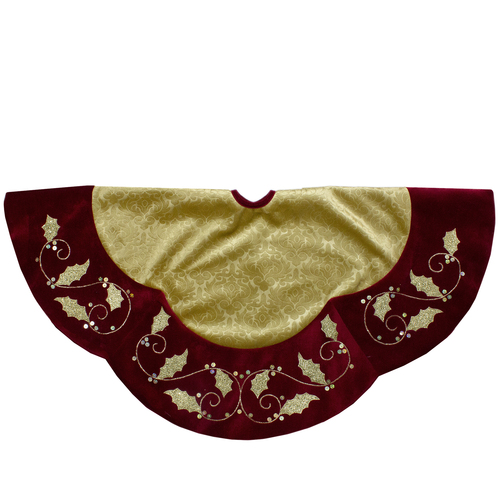 48-Inch Gold and Burgundy Velvet Christmas Tree Skirt - IMAGE 1