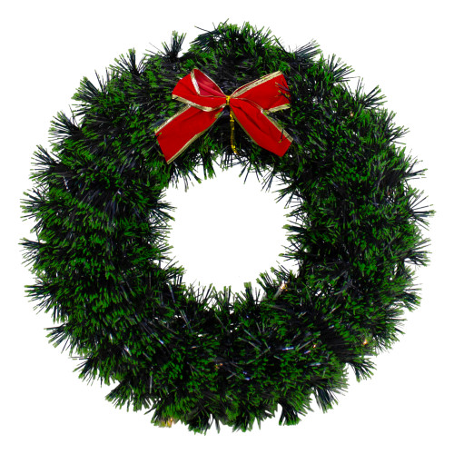"17"" Pre-Lit Green Tinsel Artificial Christmas Wreath with a Bow - Clear LED Lights - IMAGE 1"