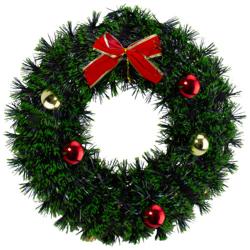 "17"" Green Tinsel Artificial Christmas Wreath with a Bow - IMAGE 1"