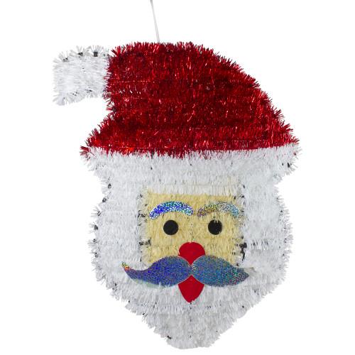 "19"" Tinsel Santa Claus Christmas Window Decoration - IMAGE 1"