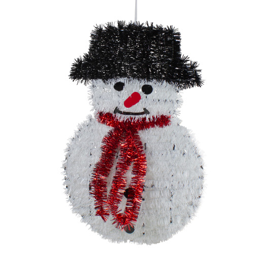 "19"" Tinsel Snowman Christmas Window Decoration - IMAGE 1"