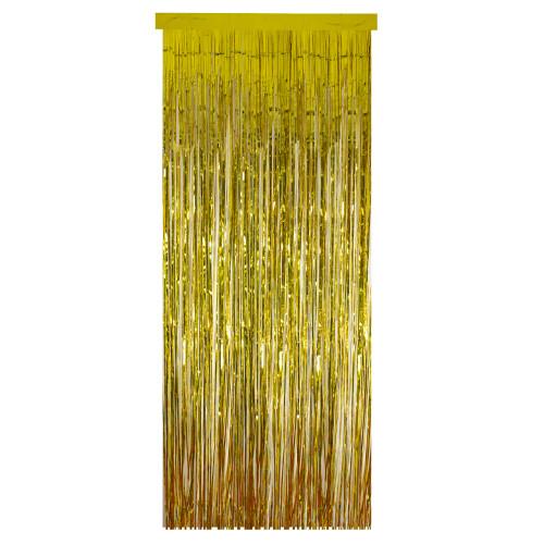 Gold Tinsel Christmas Window or Door Curtain 3' x 8' - IMAGE 1