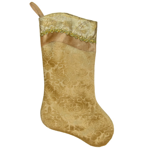 """20.5"""" Gold Etched Velvet Christmas Stocking with Glitter Print and Metallic Trim - IMAGE 1"""