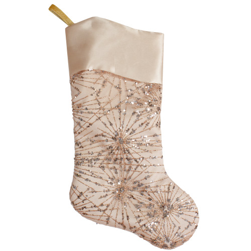 20.5-Inch Gold Glitter and Sequin Satin Cuff Christmas Stocking - IMAGE 1