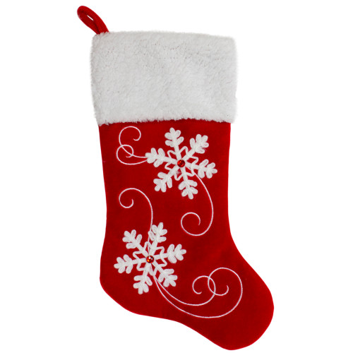 20.5-Inch Red and White Velvet With White Snowflake Christmas Stocking - IMAGE 1