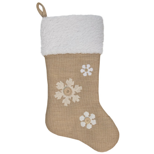 """20.5"""" Beige and Ivory Snowflake Embroidered Christmas Stocking - IMAGE 1"""