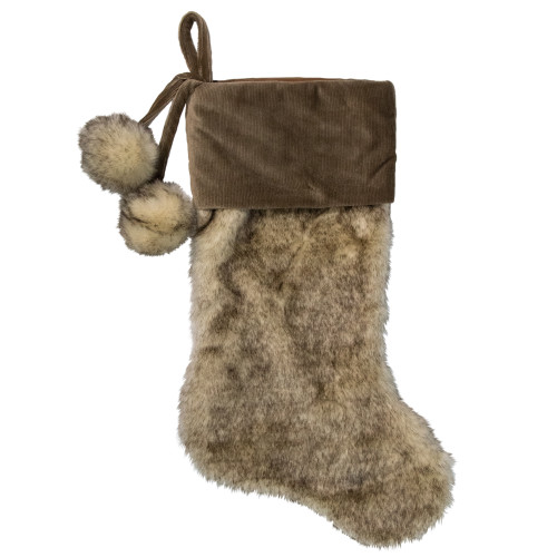 20.5-Inch Brown Christmas Stocking with Corduroy Cuff and Pom Poms - IMAGE 1