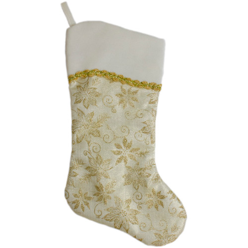 20.5-Inch Gold and White Glitter Poinsettia Christmas Stocking With a Velvet Cuff - IMAGE 1