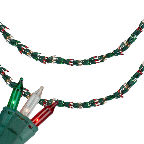 300-Count Red, Clear and Green Mini Christmas Light Garland Set, 9ft White Wire - IMAGE 1