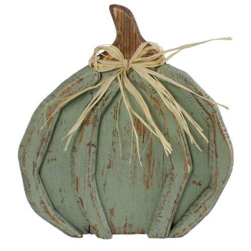 12-Inch Green Distressed Halloween Fall Pumpkin Decoration - IMAGE 1