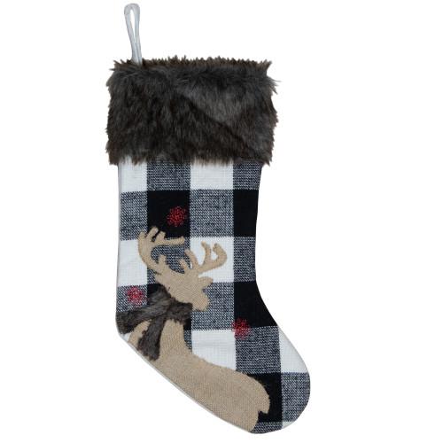 18-Inch Black and White Buffalo Plaid Burlap Reindeer Christmas Stocking - IMAGE 1