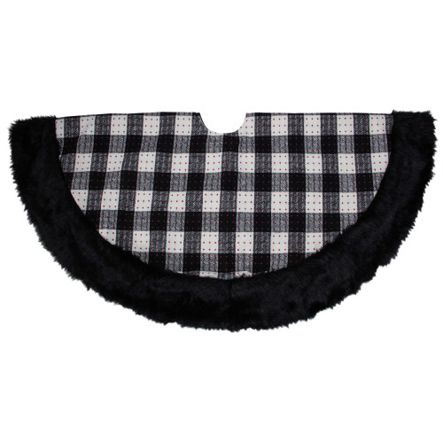 "48"" Black and White Buffalo Plaid Christmas Tree Skirt - IMAGE 1"