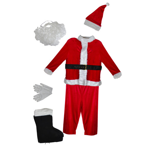 White and Red Santa Claus Men's Christmas Costume Set - Standard Size - IMAGE 1