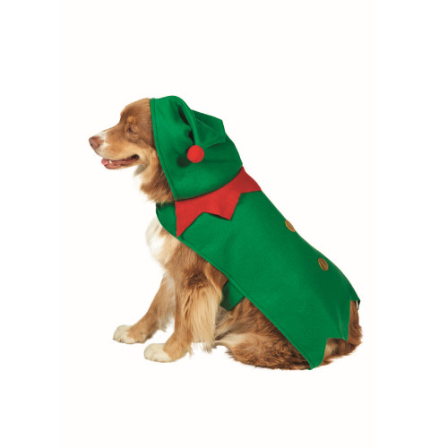 "27"" Green and Red Christmas Elf Dog Costume - Size L - IMAGE 1"