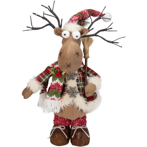 """22"""" Winter Ready Plaid Standing Christmas Moose Figure with LED Antler - IMAGE 1"""