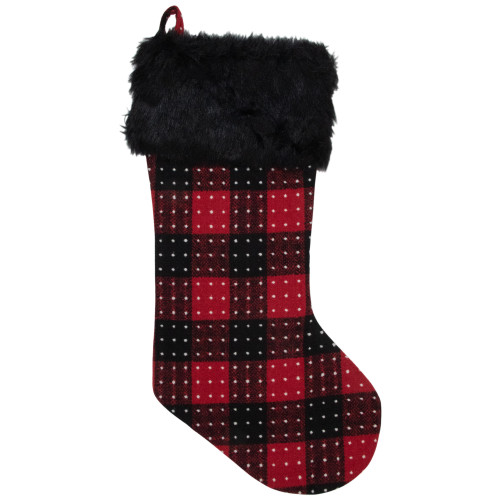 """21.5"""" Red and Black Plaid with Dots and Faux Fur Cuff Christmas Stocking - IMAGE 1"""
