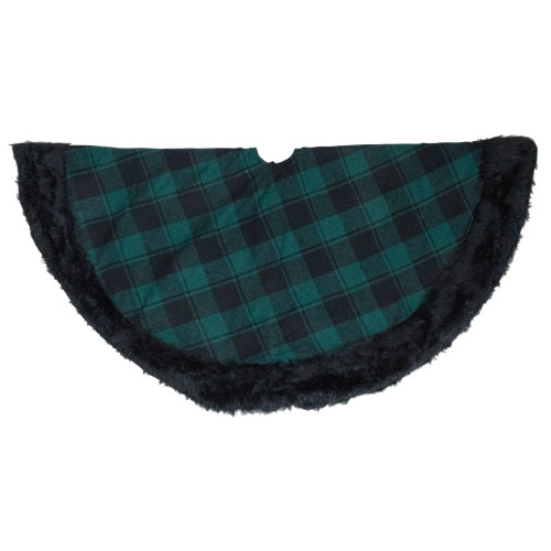"""48"""" Green and Black Plaid Christmas Tree Skirt with Faux Fur - IMAGE 1"""