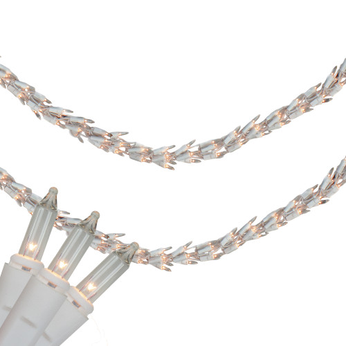 300-Count Clear Mini Christmas Light Garland Set, 9ft White Wire - IMAGE 1