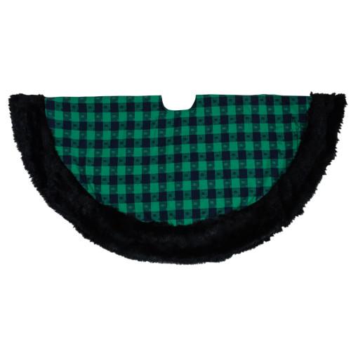 """48"""" Green and Black Plaid Christmas Tree Skirt - IMAGE 1"""