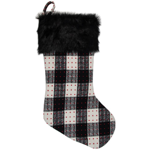 """21"""" Black and Ivory Plaid with Dots and Faux Fur Cuff Christmas Stocking - IMAGE 1"""