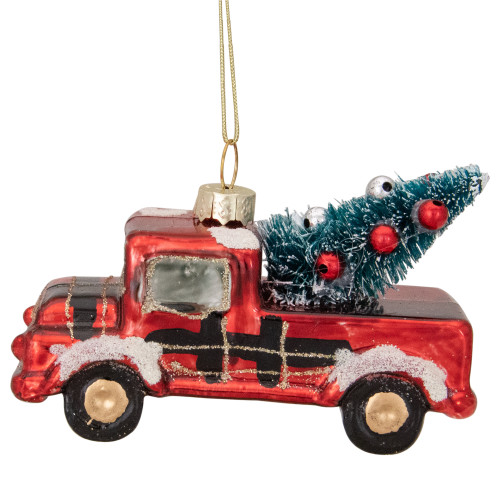 """4"""" Retro Red Country Truck with Tree Hanging Christmas Ornament - IMAGE 1"""