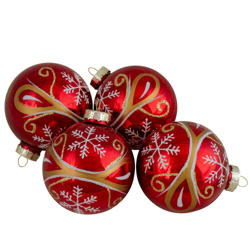 4ct Red and Gold Glass Hanging Christmas Ball Ornaments 2.5-Inch (67mm) - IMAGE 1
