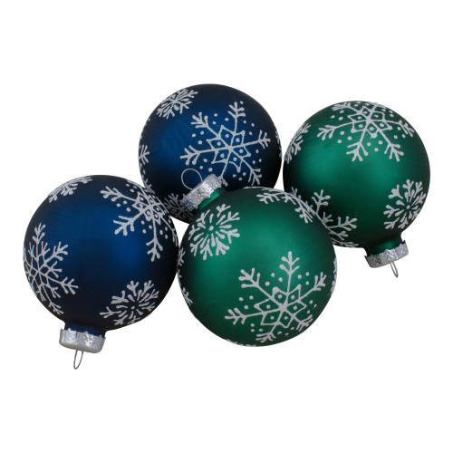 Set of 4 Dark Blue and Green Glass Matte Christmas Ball Ornaments 2.5-Inch - IMAGE 1