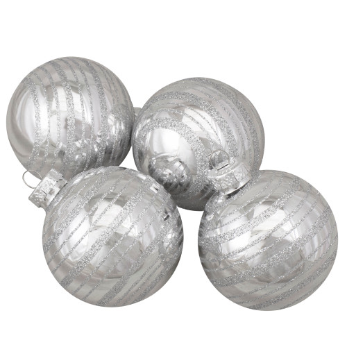 "Set of 4 Silver Christmas Ball Ornaments 2.5"" (67mm) - IMAGE 1"