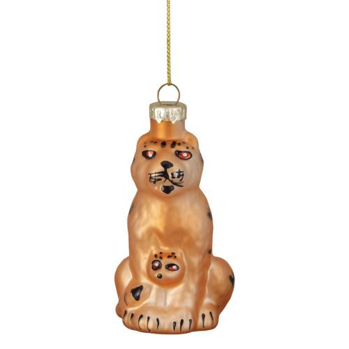 "3"" Orange and Black Glass Leopard Christmas Ornament - IMAGE 1"