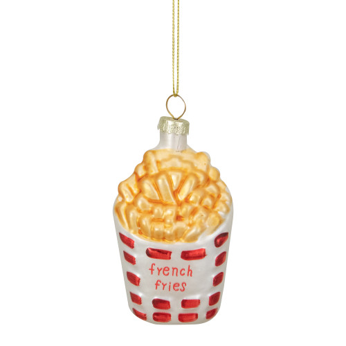 "3.25"" Golden Yellow, Red, and White French Fries Glass Christmas Ornament - IMAGE 1"