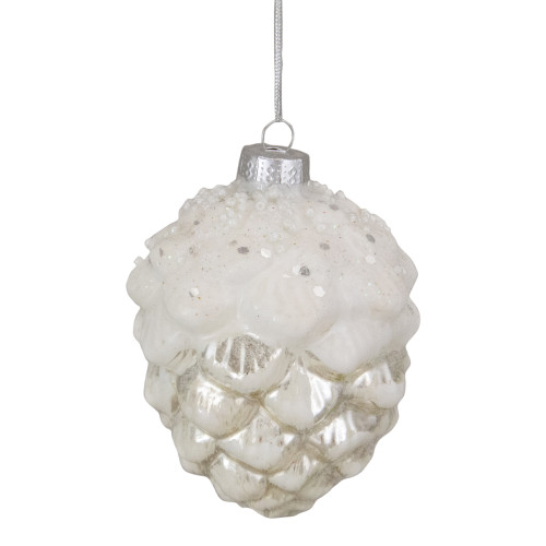 """3.5"""" Silver Frosted Pine Cone Glass Christmas Ornament - IMAGE 1"""