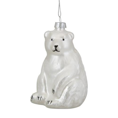 """3.75"""" White Glitter Polar Bear Glass Christmas Ornament - IMAGE 1"""