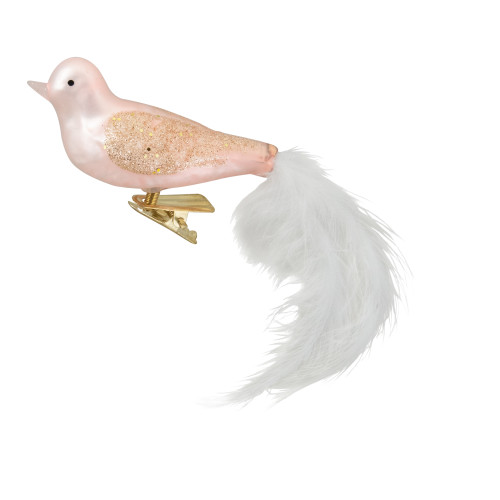 """5.5"""" Pink Bird with Feather Tail Glass Clip On Christmas Ornament - IMAGE 1"""
