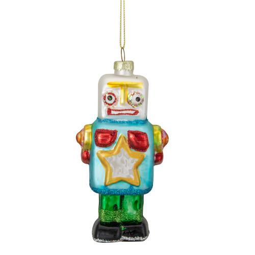 "4.75"" Multi-Colored Glass Robot Christmas Ornament - IMAGE 1"