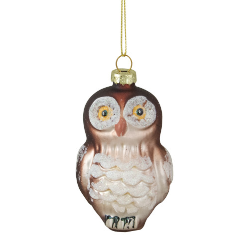 "3.75"" Brown and White Glass Owl Christmas Ornament - IMAGE 1"