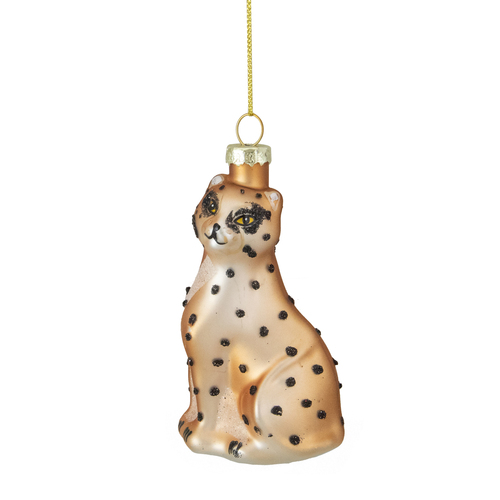 "4"" Orange and Black Glass Leopard Christmas Ornament - IMAGE 1"