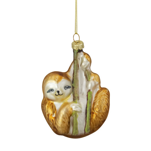 """4"""" Brown and Gold Sloth with Bamboo Glass Christmas Ornament - IMAGE 1"""
