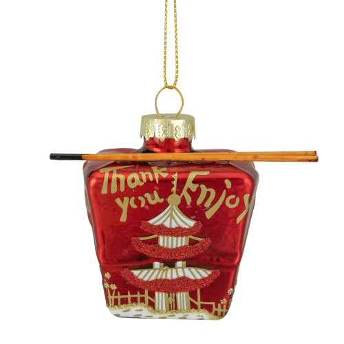 """3.5"""" Red Asian Food Take Out Container Glass Christmas Ornament - IMAGE 1"""
