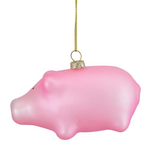 "4"" Pink Pig Glass Christmas Ornament - IMAGE 1"