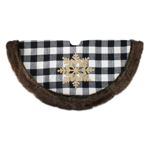 "48"" Black and White Buffalo Plaid Christmas Tree Skirt with Burlap Snowflake - IMAGE 1"
