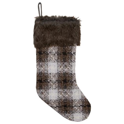 """18"""" Brown and White Buffalo Plaid Christmas Stocking - IMAGE 1"""