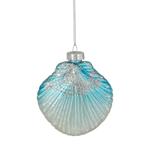 "3"" Blue and White Glass Seashell Christmas Ornament - IMAGE 1"