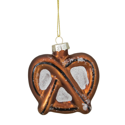 """2.75"""" Bronze and White Holiday Collections Salted Pretzel Glass Christmas Ornament - IMAGE 1"""