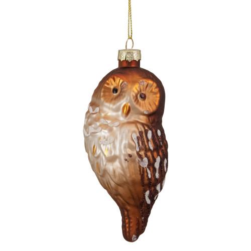 "4.5"" Brown and White Glass Owl Christmas Ornament - IMAGE 1"