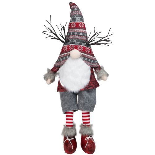 "30"" Gray and Red Christmas Gnome with LED Antlers and Dangling Legs - IMAGE 1"